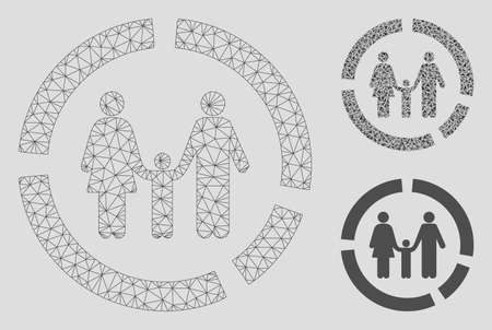 Mesh family diagram model with triangle mosaic icon. Wire carcass polygonal mesh of family diagram. Vector composition of triangles in variable sizes, and color tints. Abstract 2d mesh family diagram, Banque d'images - 125063960