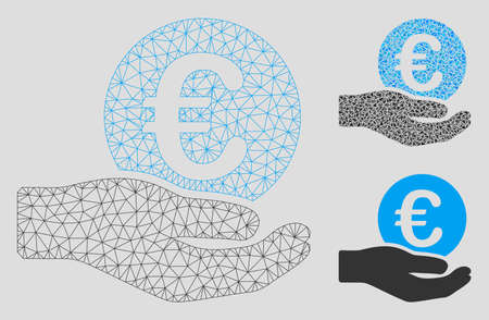 Mesh Euro salary hand model with triangle mosaic icon. Wire carcass triangular network of Euro salary hand. Vector mosaic of triangle parts in variable sizes, and color shades.