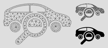 Mesh find car model with triangle mosaic icon. Wire carcass triangular mesh of find car. Vector mosaic of triangle parts in variable sizes, and color tinges. Abstract 2d mesh find car,