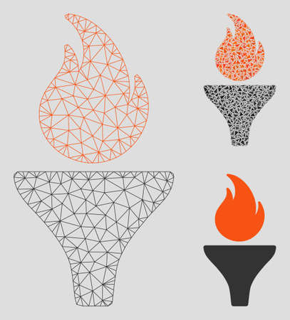 Mesh fire torch model with triangle mosaic icon. Wire frame polygonal mesh of fire torch. Vector mosaic of triangles in various sizes, and color tinges. Abstract 2d mesh fire torch, Illustration