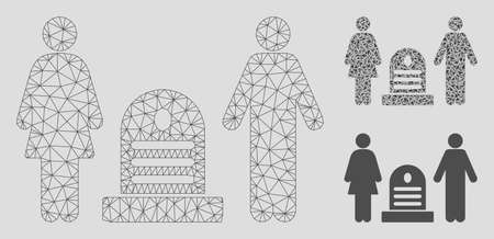 Mesh family cemetery model with triangle mosaic icon. Wire carcass polygonal network of family cemetery. Vector mosaic of triangle elements in various sizes, and color tints. Banque d'images - 125064287
