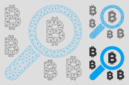 Mesh find Bitcoin model with triangle mosaic icon. Wire frame polygonal mesh of find Bitcoin. Vector mosaic of triangle parts in variable sizes, and color hues. Abstract flat mesh find Bitcoin,