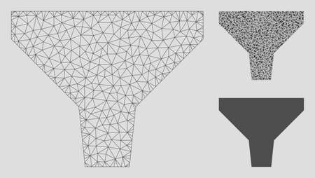 Mesh filter model with triangle mosaic icon. Wire frame polygonal mesh of filter. Vector mosaic of triangle elements in various sizes, and color tints. Abstract flat mesh filter, Vettoriali