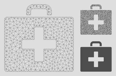 Mesh first aid bag model with triangle mosaic icon. Wire frame polygonal mesh of first aid bag. Vector collage of triangle parts in different sizes, and color hues. Abstract flat mesh first aid bag,