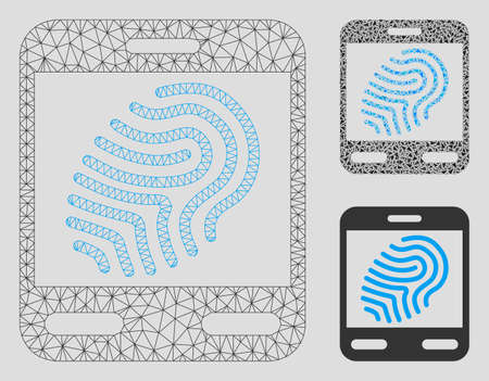 Mesh fingerprint scanner model with triangle mosaic icon. Wire frame polygonal mesh of fingerprint scanner. Vector collage of triangle parts in different sizes, and color shades. Illustration