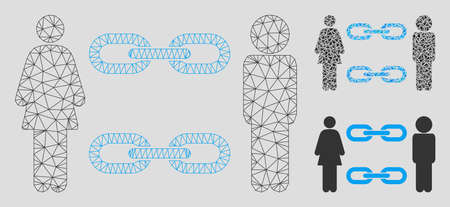Mesh family chains model with triangle mosaic icon. Wire frame polygonal mesh of family chains. Vector mosaic of triangle elements in various sizes, and color hues. Abstract flat mesh family chains, Banque d'images - 125064547