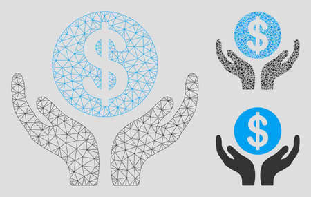 Mesh financial maintenance hands model with triangle mosaic icon. Wire frame triangular mesh of financial maintenance hands. Vector mosaic of triangle elements in variable sizes, and color tones.