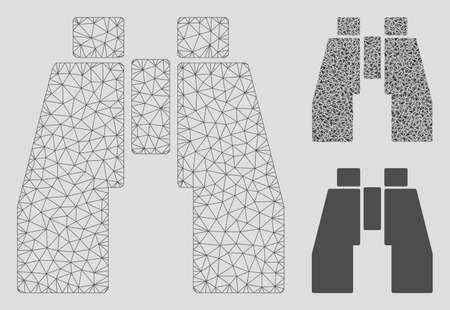 Mesh find binoculars model with triangle mosaic icon. Wire carcass polygonal mesh of find binoculars. Vector mosaic of triangles in different sizes, and color hues. Abstract 2d mesh find binoculars,
