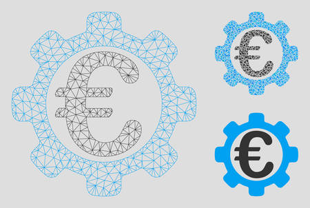 Mesh Euro options model with triangle mosaic icon. Wire carcass triangular mesh of Euro options. Vector mosaic of triangle parts in different sizes, and color tones. Abstract flat mesh Euro options, Illustration