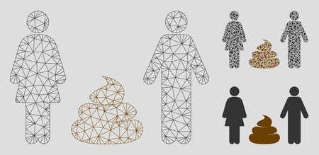 Mesh family shit model with triangle mosaic icon. Wire frame triangular mesh of family shit. Vector mosaic of triangles in various sizes, and color shades. Abstract flat mesh family shit, Banque d'images - 125064770