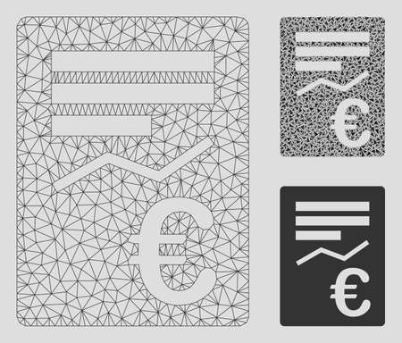 Mesh Euro report model with triangle mosaic icon. Wire frame polygonal mesh of Euro report. Vector mosaic of triangles in different sizes, and color hues. Abstract 2d mesh Euro report,