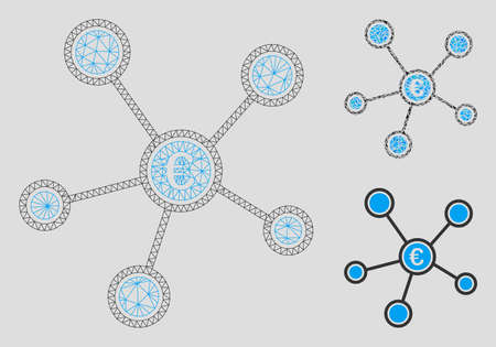 Mesh Euro network links model with triangle mosaic icon. Wire frame triangular mesh of Euro network links. Vector mosaic of triangle elements in different sizes, and color hues.