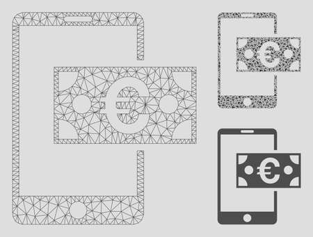 Mesh Euro mobile cash model with triangle mosaic icon. Wire carcass triangular mesh of Euro mobile cash. Vector mosaic of triangle elements in various sizes, and color tinges. Archivio Fotografico - 125064859