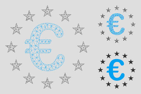 Mesh Euro union stars model with triangle mosaic icon. Wire frame polygonal network of Euro union stars. Vector mosaic of triangle parts in different sizes, and color hues.