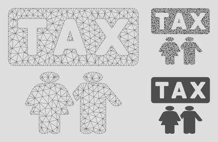 Mesh family tax pressure model with triangle mosaic icon. Wire frame polygonal network of family tax pressure. Vector composition of triangle elements in different sizes, and color tones. Banque d'images - 125064912