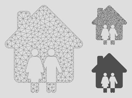 Mesh family house model with triangle mosaic icon. Wire carcass triangular mesh of family house. Vector composition of triangle parts in variable sizes, and color tinges. Banque d'images - 125064998