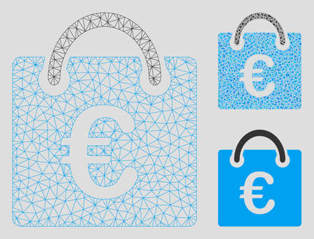 Mesh Euro shopping bag model with triangle mosaic icon. Wire carcass polygonal mesh of Euro shopping bag. Vector composition of triangle elements in different sizes, and color hues.