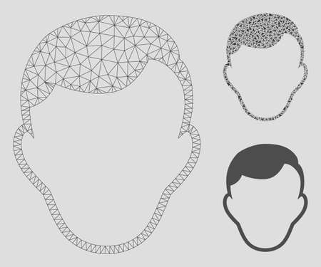 Mesh face template model with triangle mosaic icon. Wire frame polygonal mesh of face template. Vector composition of triangle elements in variable sizes, and color tints.