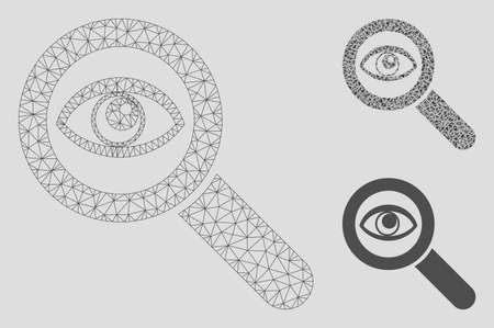 Mesh eye explore model with triangle mosaic icon. Wire carcass polygonal mesh of eye explore. Vector mosaic of triangle elements in various sizes, and color tinges. Abstract 2d mesh eye explore,