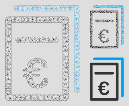 Mesh Euro pricing documents model with triangle mosaic icon. Wire frame triangular mesh of Euro pricing documents. Vector collage of triangle elements in various sizes, and color tones. Ilustrace