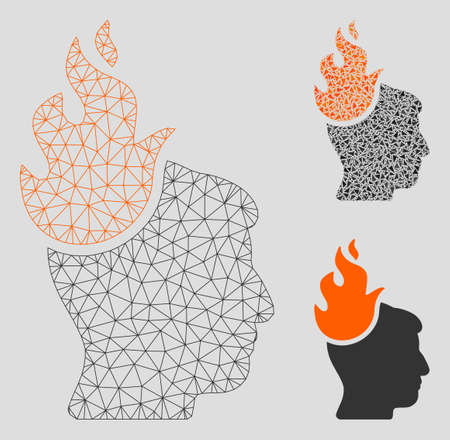 Mesh fired head model with triangle mosaic icon. Wire frame polygonal mesh of fired head. Vector mosaic of triangle elements in various sizes, and color shades. Abstract 2d mesh fired head, Illustration