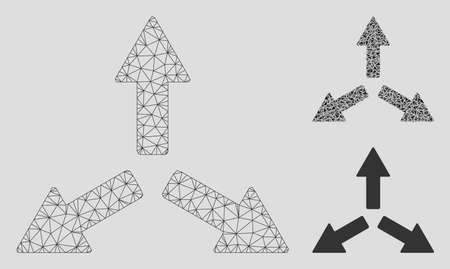 Mesh expand arrows model with triangle mosaic icon. Wire frame polygonal mesh of expand arrows. Vector mosaic of triangle elements in various sizes, and color tints. Abstract 2d mesh expand arrows, Çizim