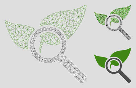 Mesh find herbs model with triangle mosaic icon. Wire carcass triangular network of find herbs. Vector mosaic of triangle elements in different sizes, and color hues. Abstract 2d mesh find herbs, Ilustrace