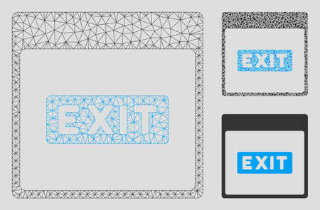 Mesh exit caption calendar page model with triangle mosaic icon. Wire carcass triangular mesh of exit caption calendar page. Vector mosaic of triangle elements in different sizes, and color shades. Ilustrace