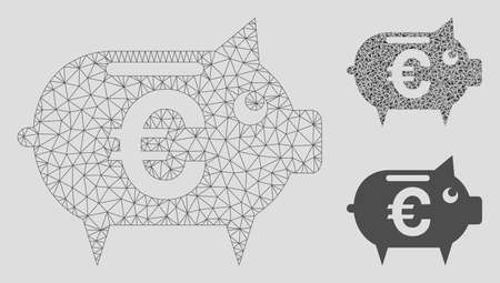 Mesh Euro piggy bank model with triangle mosaic icon. Wire frame triangular mesh of Euro piggy bank. Vector mosaic of triangles in variable sizes, and color tones. Abstract flat mesh Euro piggy bank,