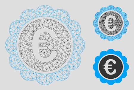 Mesh Euro reward seal model with triangle mosaic icon. Wire carcass triangular mesh of Euro reward seal. Vector composition of triangle elements in different sizes, and color shades.