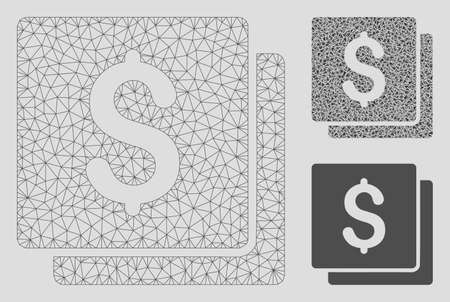 Mesh finances model with triangle mosaic icon. Wire carcass triangular mesh of finances. Vector mosaic of triangle parts in different sizes, and color tinges. Abstract 2d mesh finances, Archivio Fotografico - 125066010