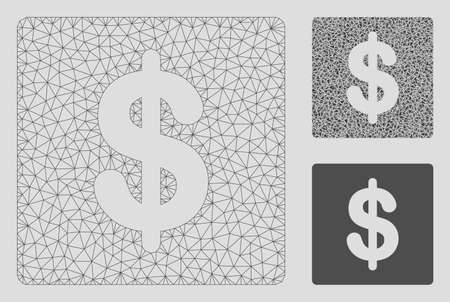 Mesh financial model with triangle mosaic icon. Wire frame triangular mesh of financial. Vector composition of triangle elements in various sizes, and color tones. Abstract 2d mesh financial, Illustration