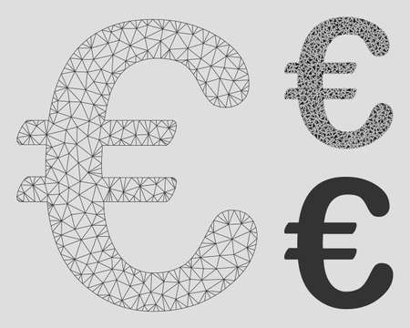 Mesh Euro symbol model with triangle mosaic icon. Wire carcass polygonal mesh of Euro symbol. Vector mosaic of triangles in different sizes, and color hues. Abstract 2d mesh Euro symbol,
