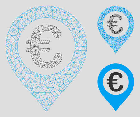 Mesh Euro pushpin model with triangle mosaic icon. Wire carcass polygonal network of Euro pushpin. Vector mosaic of triangle elements in variable sizes, and color tints.