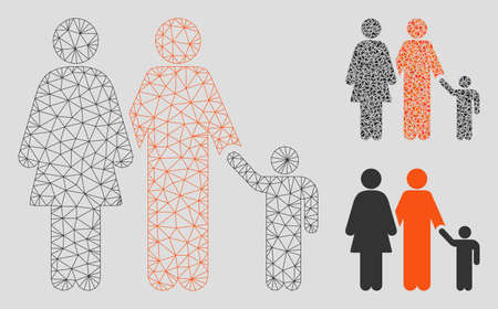 Mesh family model with triangle mosaic icon. Wire frame triangular mesh of family. Vector mosaic of triangle elements in various sizes, and color tints. Abstract 2d mesh family, Banque d'images - 125066132