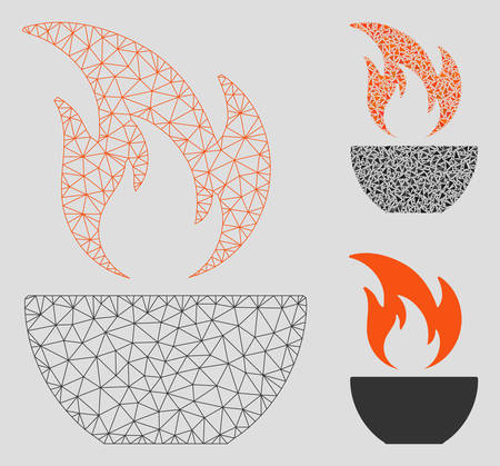 Mesh fire bowl model with triangle mosaic icon. Wire carcass polygonal mesh of fire bowl. Vector composition of triangle elements in different sizes, and color tones. Abstract flat mesh fire bowl, Ilustrace