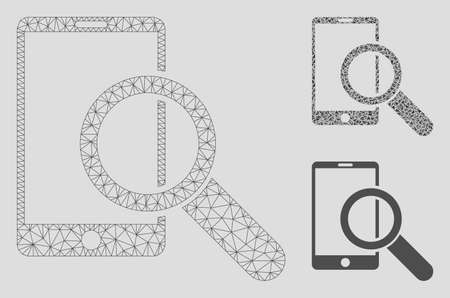 Mesh find smartphone model with triangle mosaic icon. Wire frame triangular mesh of find smartphone. Vector mosaic of triangle parts in different sizes, and color tones. Ilustrace