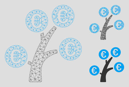 Mesh Euro money tree model with triangle mosaic icon. Wire frame polygonal mesh of Euro money tree. Vector collage of triangle parts in various sizes, and color shades. Illustration