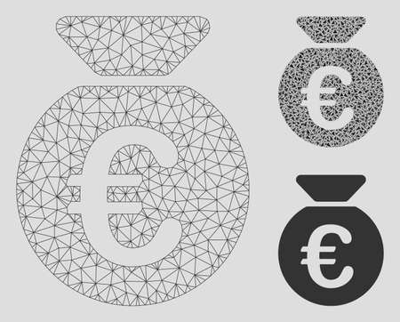 Mesh Euro money bag model with triangle mosaic icon. Wire carcass triangular mesh of Euro money bag. Vector mosaic of triangles in various sizes, and color tones. Abstract 2d mesh Euro money bag,