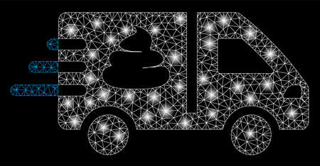 Bright mesh express manure delivery with sparkle effect. Abstract illuminated model of express manure delivery icon. Shiny wire frame triangular mesh express manure delivery. Illustration