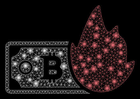 Glossy mesh fired bitcoin banknote with glare effect. Abstract illuminated model of fired bitcoin banknote icon. Shiny wire carcass polygonal mesh fired bitcoin banknote. Çizim