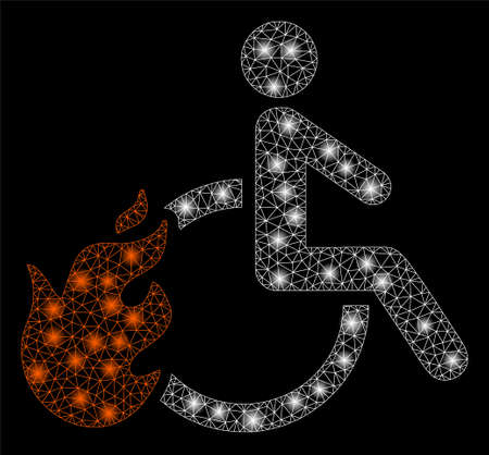 Glowing mesh fired disabled person with glitter effect. Abstract illuminated model of fired disabled person icon. Shiny wire frame triangular network fired disabled person.