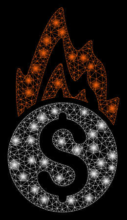 Flare mesh fire damage with glitter effect. Abstract illuminated model of fire damage icon. Shiny wire carcass triangular mesh fire damage. Vector abstraction on a black background.