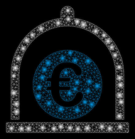 Glowing mesh Euro standard with sparkle effect. Abstract illuminated model of Euro standard icon. Shiny wire carcass polygonal mesh Euro standard. Vector abstraction on a black background.