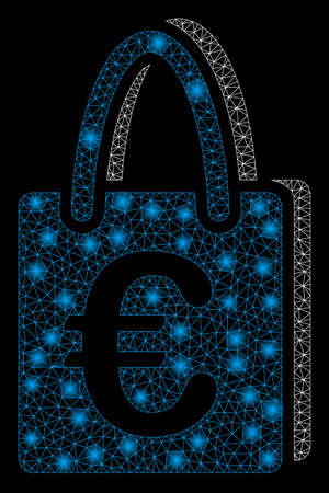 Glowing mesh Euro shopping bag with glare effect. Abstract illuminated model of Euro shopping bag icon. Shiny wire carcass polygonal mesh Euro shopping bag. Vector abstraction on a black background.