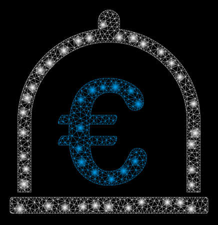 Glowing mesh Euro storage with glitter effect. Abstract illuminated model of Euro storage icon. Shiny wire carcass polygonal mesh Euro storage. Vector abstraction on a black background.