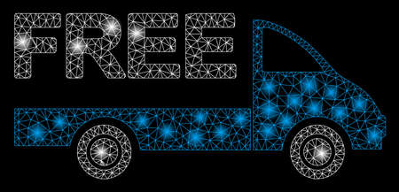 Glowing mesh free delivery car with glare effect. Abstract illuminated model of free delivery car icon. Shiny wire frame polygonal mesh free delivery car. Vector abstraction on a black background.