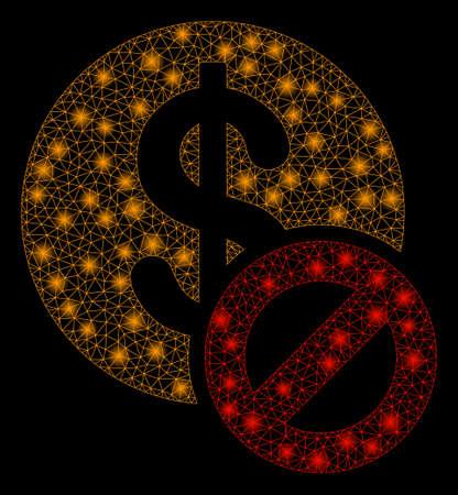 Flare mesh forbidden dollar with glitter effect. Abstract illuminated model of forbidden dollar icon. Shiny wire frame polygonal mesh forbidden dollar. Vector abstraction on a black background. Illusztráció
