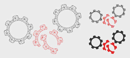 Mesh gears damage model with triangle mosaic icon. Wire frame polygonal network of gears damage. Vector collage of triangle parts in variable sizes, and color tones. Abstract flat mesh gears damage,