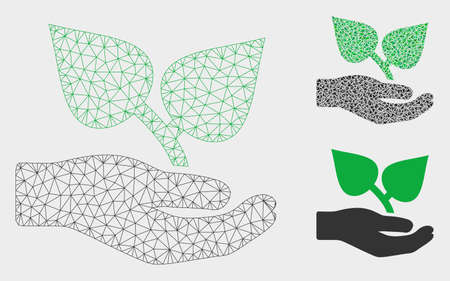 Mesh flora care hand model with triangle mosaic icon. Wire frame triangular mesh of flora care hand. Vector mosaic of triangle elements in variable sizes, and color shades.